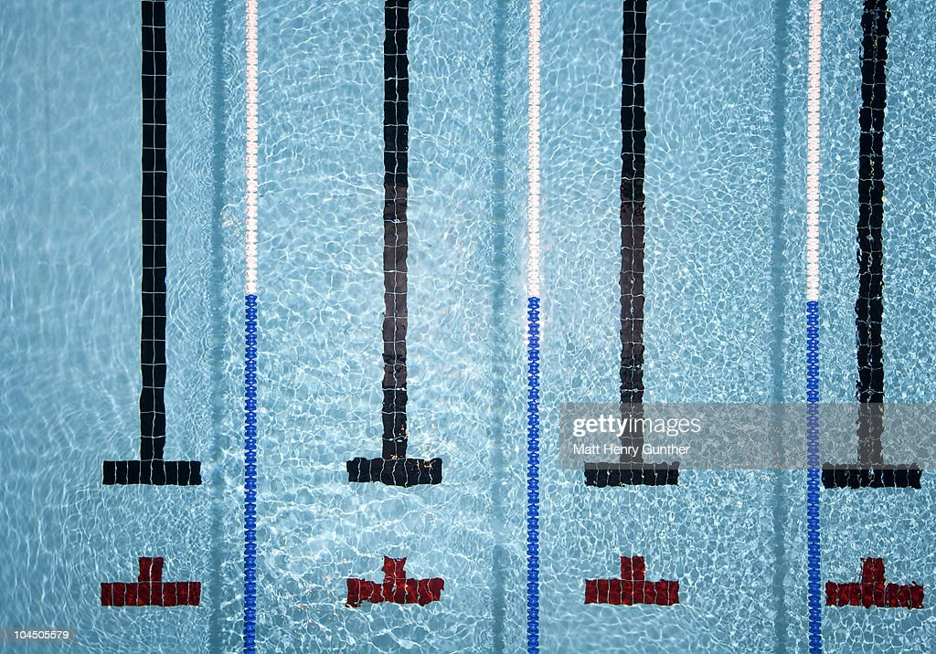 Pool with swimmer lanes