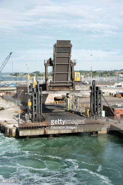 Poole Harbor Dorset UK The link span and docking ramp for cross channel ferries to load and unload vehicles