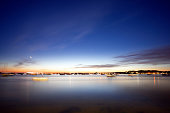 Poole Harbour on the UK's south coast at night