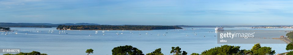 Poole harbour panoramic view : Stock Photo