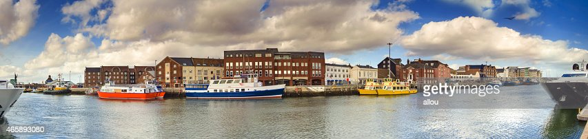 Poole Quay panoramic with harbour boats : Stock Photo