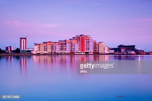Poole skyline at sunset : Stock Photo
