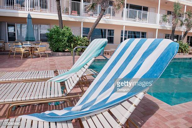 Poolside Lounge Chairs at a Hollywood Beach Motel
