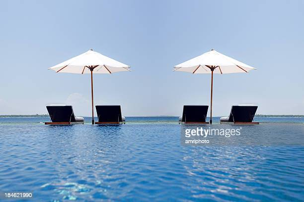 poolside parasols and sunchairs