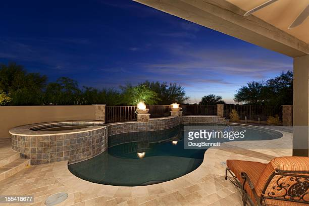 Poolside Patio Sunset