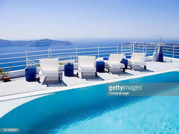 Poolside view of white loungers at a luxury hotel