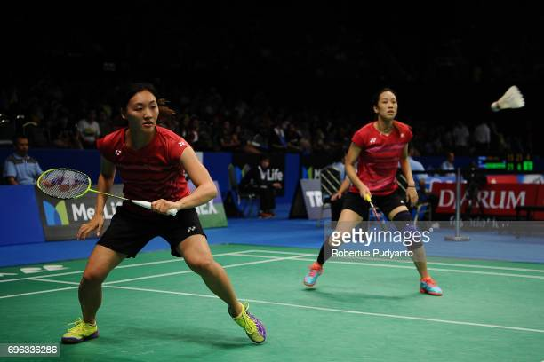 Poon Lok Yan and Tse Ying Suet of Hong Kong compete against Kamilla Rytter Juhl and Christinna Pedersen of Denmark during Womens Double Round 2 match...