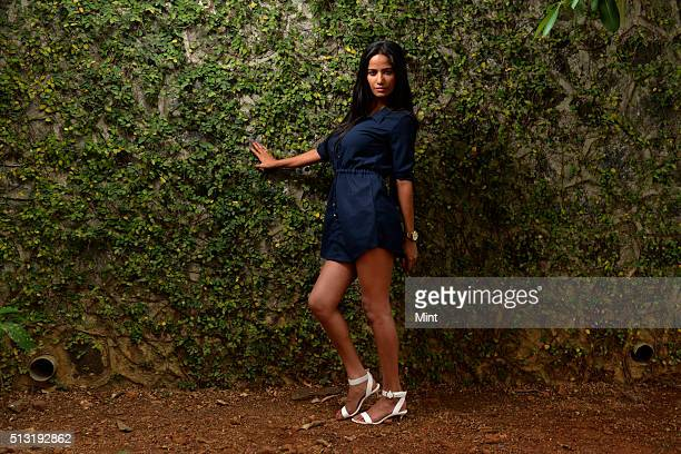 Poonam Pandey a model and actress poses for a profile shoot at her house in Thane located in outskirts of Mumbai on May 25 2015 in Thane India