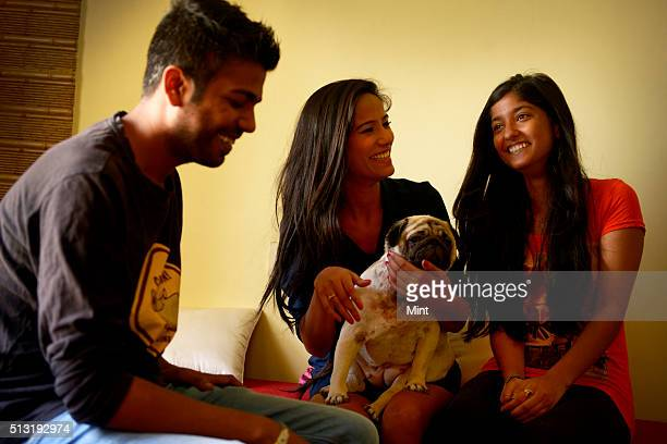 Poonam Pandey a model and actress with her sister Shraddha and brother Nilesh at her house in Thane located in outskirts of Mumbai on May 25 2015 in...