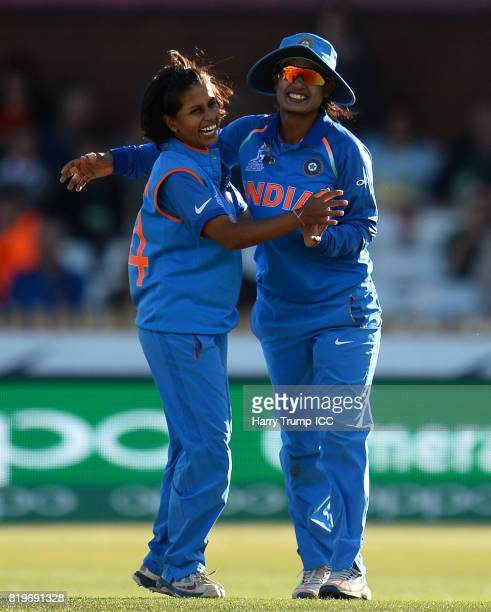 Poonam Raut and Mithali Raj of India celebrate the wicket of Ashleigh Gardner of Australia during the ICC Women's World Cup 2017 match between...