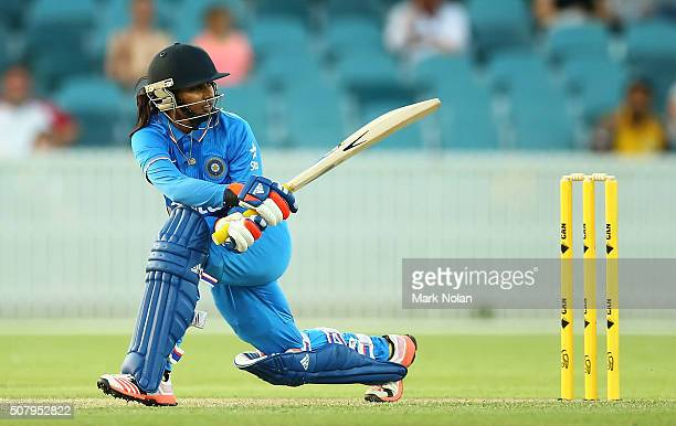 Poonam Raut of India bats during game one of the Women's ODI series between Australia and India at Manuka Oval on February 2 2016 in Canberra...