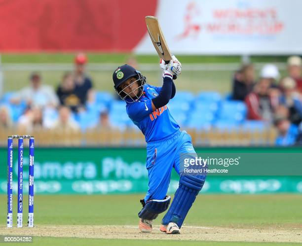 Poonam Raut of India bats during the England v India group stage match at the ICC Women's World Cup 2017 at The 3aaa County Ground on June 24 2017 in...