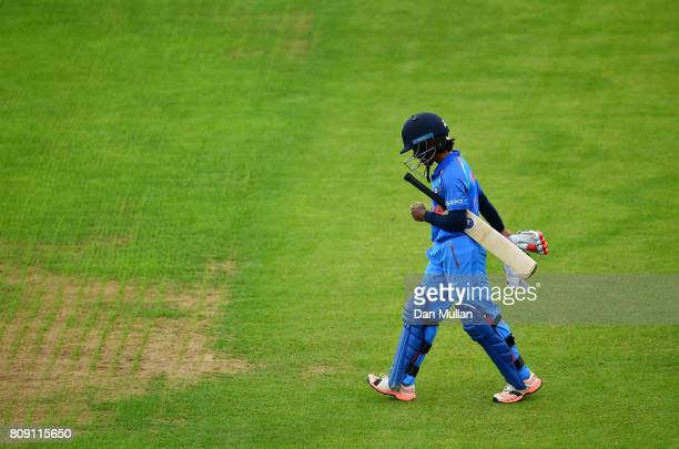 Poonam Raut of India leaves the field dejected after being caught during the ICC Women's World Cup 2017 match between Sri Lanka and India at The 3aaa...