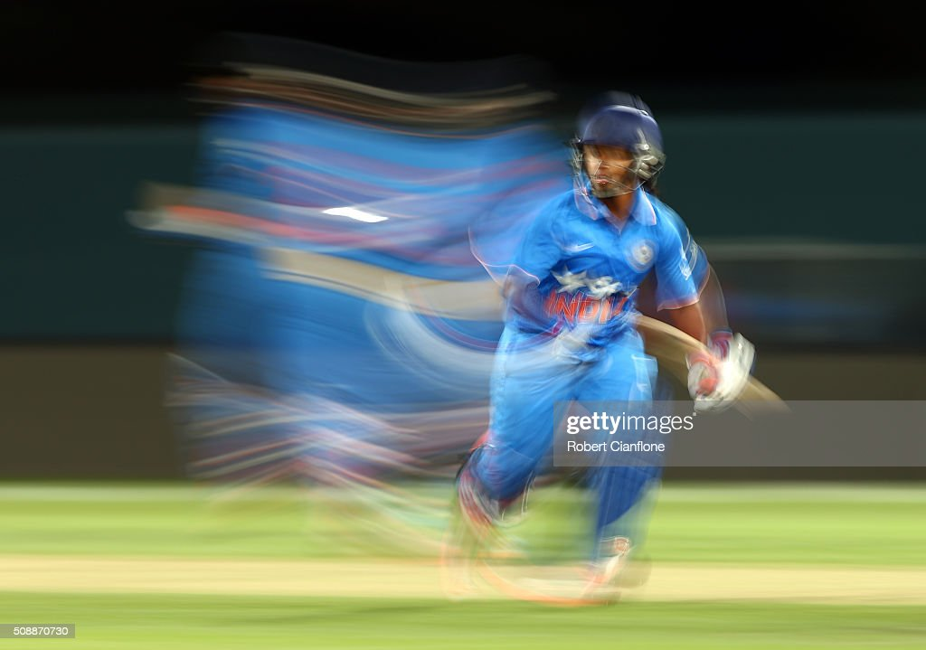 <a gi-track='captionPersonalityLinkClicked' href=/galleries/search?phrase=Poonam+Raut&family=editorial&specificpeople=5745461 ng-click='$event.stopPropagation()'>Poonam Raut</a> of India runs during game three of the one day international series between Australia and India at Blundstone Arena on February 7, 2016 in Hobart, Australia.