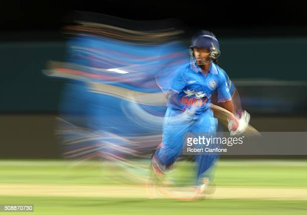 Poonam Raut of India runs during game three of the one day international series between Australia and India at Blundstone Arena on February 7 2016 in...