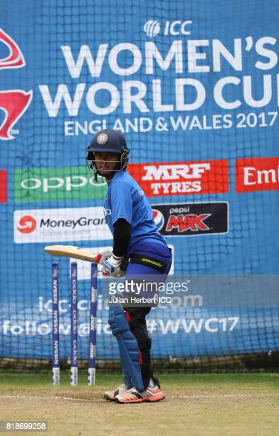 Poonam Raut of India takes part in a training session prior to The ICC Women's World Cup 2017 SemiFinal between Australia and India at The County...