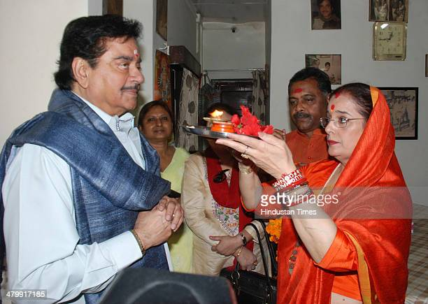 Poonam Sinha wife of the Actor and BJP candidate from Patna Sahib Lok Sabha seat Shatrughan Sinha performing a religious ritual before he filed his...
