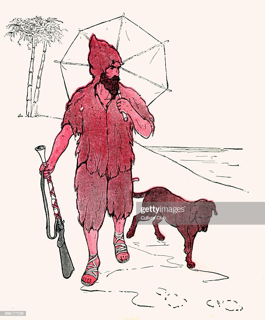 Poor Old Robinson Crusoe illustration by Blanche Fisher Wright published 1916 Poor old Robinson Crusoe Poor old Robinson Crusoe They made him a coat...