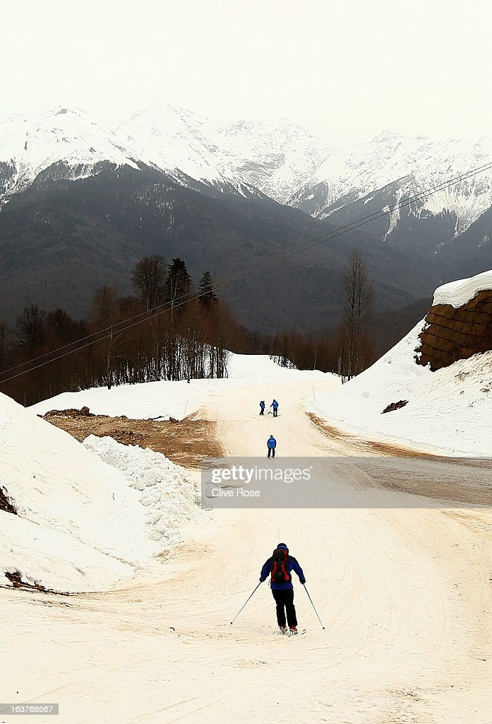 Poor snow conditions due to high temperatures effect women's Downhill Training at Rosa Khutor Alpine Center on March 15, 2013 in Sochi, Russia.