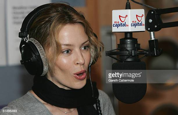 Pop artist Kylie Minogue drops in on a surprise visit to DJ presenter Johnny Vaughan on the Capital FM Breakfast Show to launch her new single 'I...