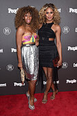 Pop artist Mila Jam and Laverne Cox attend the Entertainment Weekly People Upfronts party 2016 at Cedar Lake on May 16 2016 in New York City