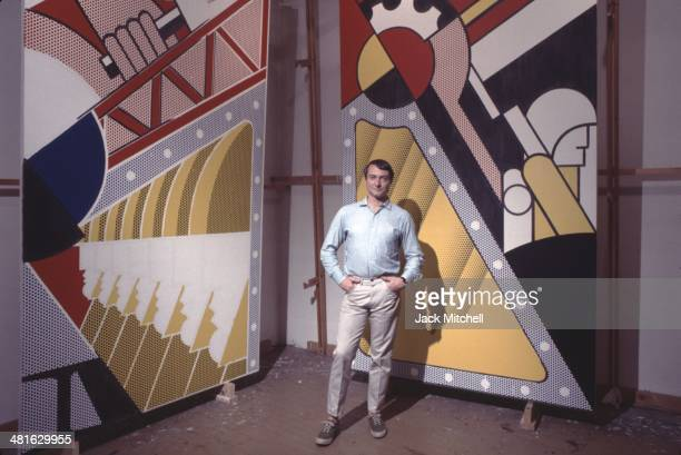 Pop artist Roy Lichtenstein in his New York studio in 1968