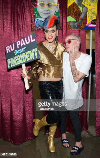 Pop artist Sham Ibrahim and actress Lori Petty attend the 3rd Annual RuPaul's DragCon at Los Angeles Convention Center on April 29 2017 in Los...