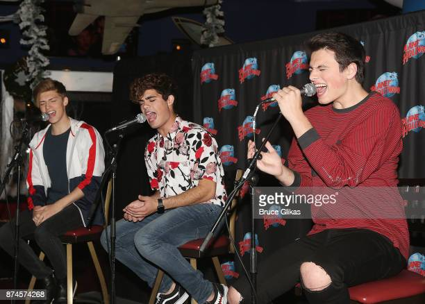 Pop band 'Forever In Your Mind' Ricky Garcia Emery Kelly and Liam Attridge perform at Planet Hollywood Times Square on November 14 2017 in New York...