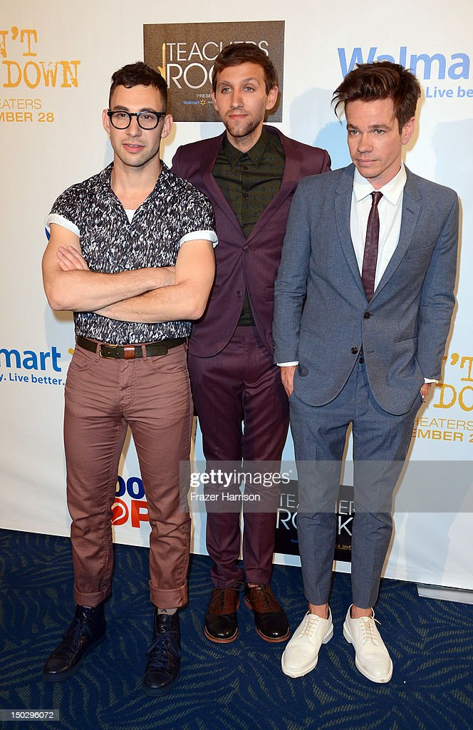 Pop Band Fun (L-R) <a gi-track='captionPersonalityLinkClicked' href=/galleries/search?phrase=Jack+Antonoff&family=editorial&specificpeople=2565373 ng-click='$event.stopPropagation()'>Jack Antonoff</a>, <a gi-track='captionPersonalityLinkClicked' href=/galleries/search?phrase=Andrew+Dost&family=editorial&specificpeople=7336071 ng-click='$event.stopPropagation()'>Andrew Dost</a>, <a gi-track='captionPersonalityLinkClicked' href=/galleries/search?phrase=Nate+Ruess&family=editorial&specificpeople=6897270 ng-click='$event.stopPropagation()'>Nate Ruess</a> attends CBS' Teacher's Rock Special Live Concert Press Room at Nokia Theatre L.A. Live on August 14, 2012 in Los Angeles, California.