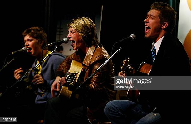 Pop band Hanson Zac Taylor and Isaac Hanson attends a press conference announcing the formation of their own label 3CG October 1st 2003 at the Bottom...