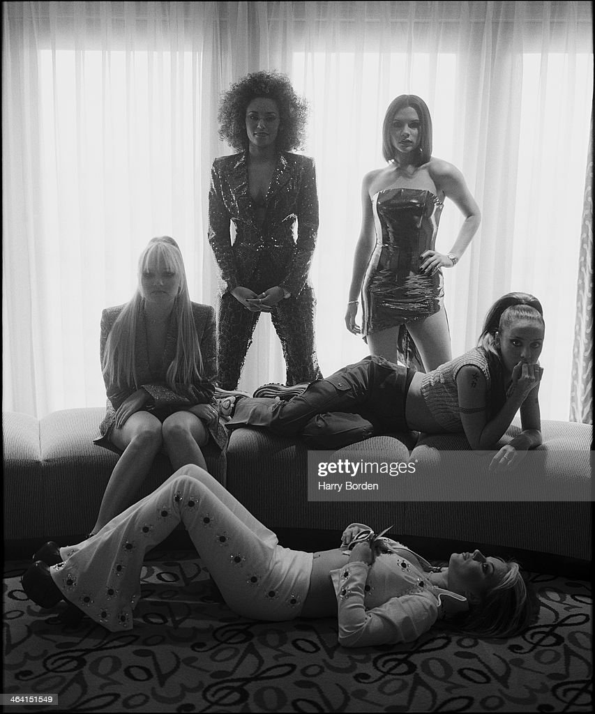 Pop band the <a gi-track='captionPersonalityLinkClicked' href=/galleries/search?phrase=Spice+Girls&family=editorial&specificpeople=534365 ng-click='$event.stopPropagation()'>Spice Girls</a> are photographed for Big magazine on June 27, 1996 in London, England.