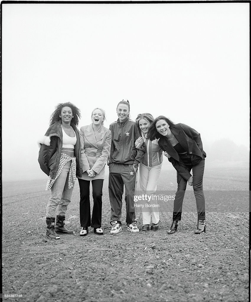 Pop band the <a gi-track='captionPersonalityLinkClicked' href=/galleries/search?phrase=Spice+Girls&family=editorial&specificpeople=534365 ng-click='$event.stopPropagation()'>Spice Girls</a> are photographed for Big magazine on June 27, 1996 in Hertfordshire, England.