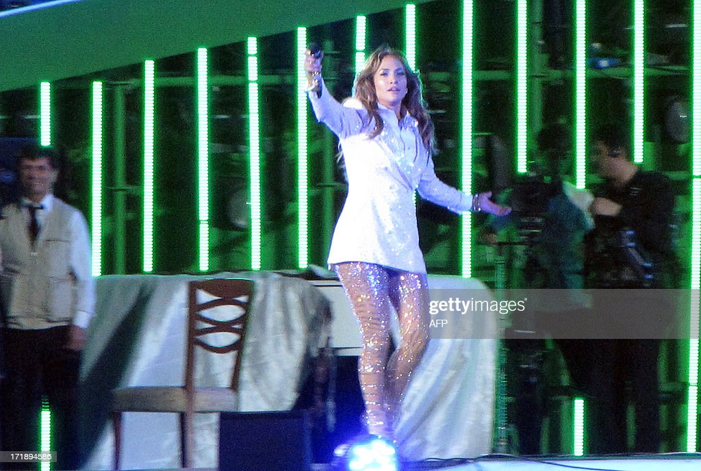 US pop diva Jennifer Lopez performs at Avaza, near the city of Turkmenbashi (Father of all Turkmen), named after former president Saparmurat Niyazova on June 29, 2013. US pop diva Jennifer Lopez sang 'Happy Birthday' to Gurbanguly Berdimuhamedow, president of Turkmenistan, described by Human Rights Watch in a January report as 'one of the world's most repressive' regimes. J.Lo is believed to be the first major Western star to visit the isolated former Soviet republic, known primarily for its vast gas reserves and a dismal human rights record.