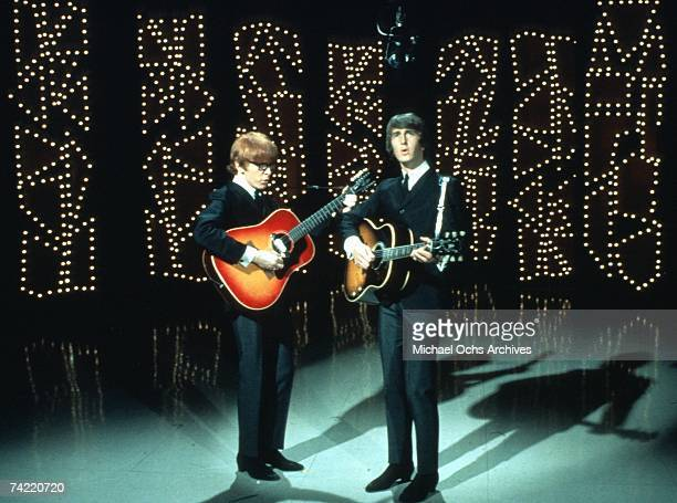 Pop Duo Peter And Gordon perfom on NBC's TV Show 'Hullabaloo' in New York New York March 30 1966 Left to right Peter Asher Gordon Waller Photo by...