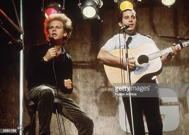 Pop duo Simon and Garfunkel comprising singer Art Garfunkel and singersongwriter Paul Simon performing on ITV's 'Ready Steady Go' July 8 1966