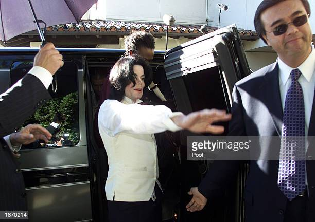 Pop entertainer Michael Jackson asks a television cameraman not to shoot closeups of him as he arrives outside of court December 3 2002 in Santa...