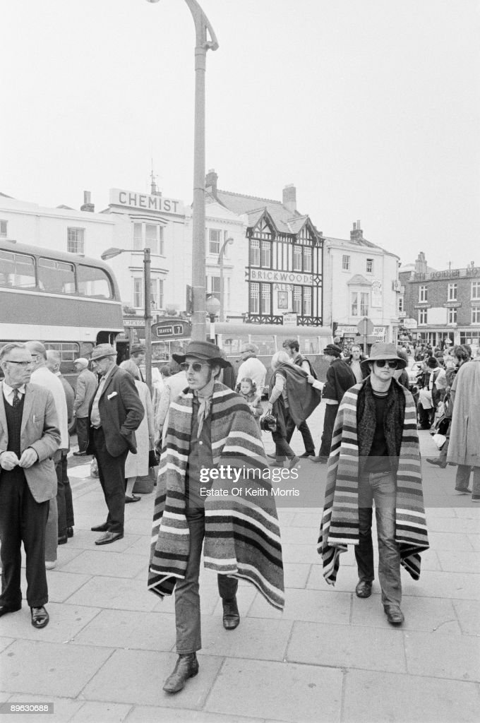 Pop fans on their way to the Isle of Wight Festival, circa 1970.