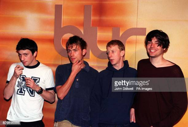 Pop group Blur Graham Coxon Damon Albarn Dave Rowntree and Alex James pictured today at the Cafe Royal in London to mark the release of a new record...