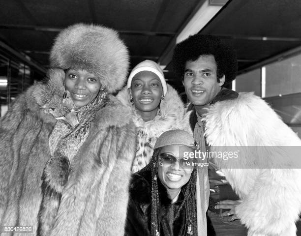 Pop group Boney M Liz Mitchell Mazie Williams Bobby Farrell and Marcia Barrett arriving at Heathrow Airport after their successful Russian tour in...