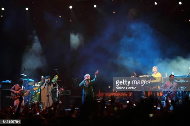 Pop group Elio E Le Storie Tese during a concert at Bagnoli Arenile