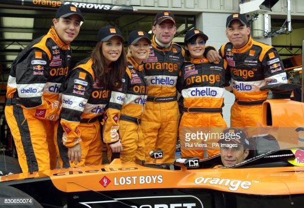Pop group Hear'Say Noel Sullivan Myleene Klass Suzanne Shaw Kym Marsh and Danny Foster meets Arrows drivers Jos Verstappen and Enrique Bernoldi as...