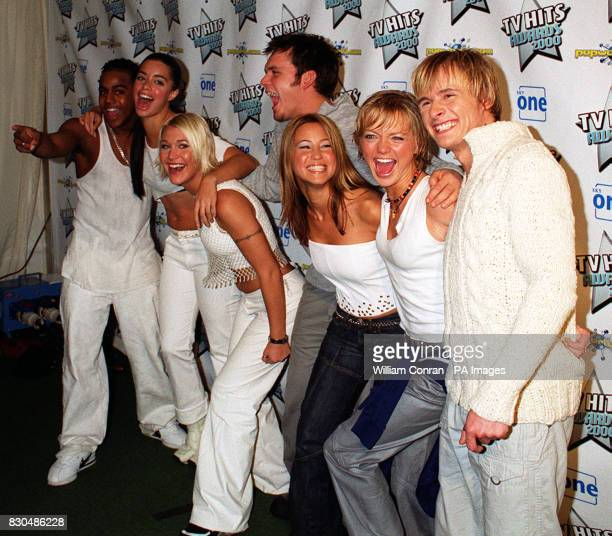 Pop group S Club 7 at the TV Hits Awards 2000 at Wembley Arena London where they won the award for Best Album 21/3/01 The three male members have...