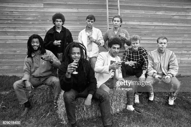 Pop group UB40 before rehearsals at Shepton Mallet for Channel 4's live rock show Standing from left Mickey Virtue James Brown Robin Campbell Sitting...