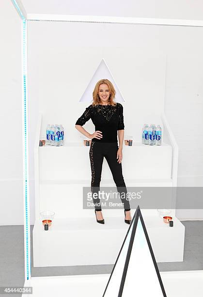 Pop Icon Kylie Minogue attends the UK launch of glaceau smartwater the premium bottled water loved by US celebrities inspired by the clouds at The...