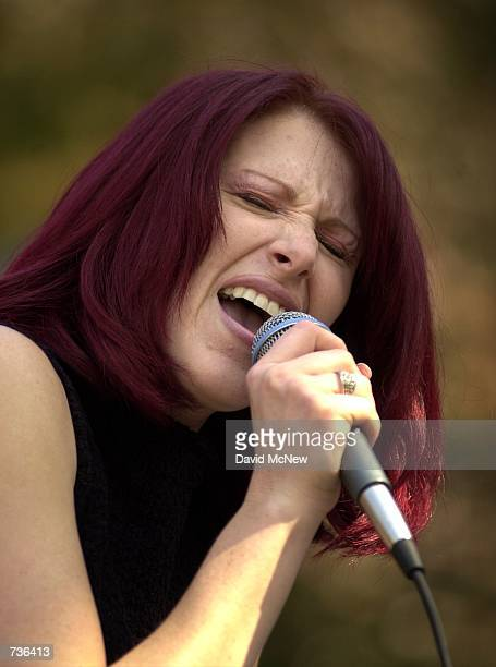 Pop music singer Tiffany performs November 16 2000 during a free concert at the University of California Los Angeles in Los Angeles CA Tiffany who...