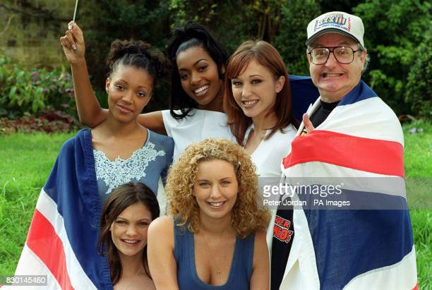 Pop pundit Jonathan King with Precious winners of the Great British Song Contest who will go on to perform at the Eurovision Song Contest From top L...