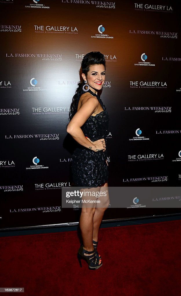 Pop Sensation Sabrina Antoinette arrives to the 2013 Los Angeles Fashion Week at Sunset Gower Studios on March 16, 2013 in Hollywood, California.