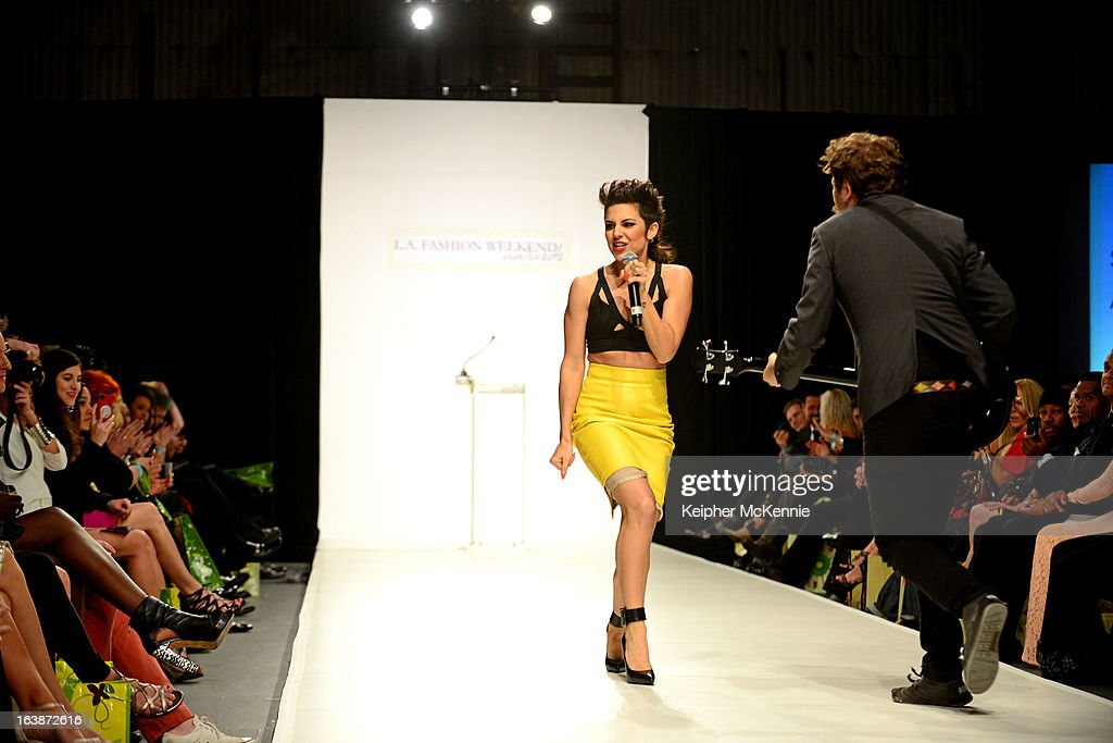 Pop Sensation Sabrina Antoinette Performs During the 2013 Los Angeles Fashion Week at Sunset Gower Studios on March 16, 2013 in Hollywood, California.
