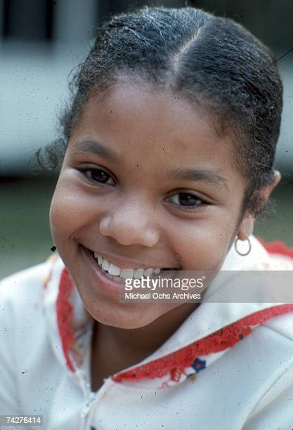 Pop singer and actress Janet Jackson poses for a portrait at the Jackson family home in January 1977 in Los Angeles California