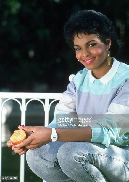 Pop singer and actress Janet Jackson poses for a portrait session in August 1985 in Los Angeles California